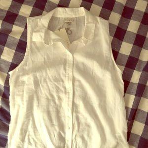 Sleeveless cotton button down size M